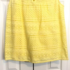 Lucky Brand Tops - NWT! Lucky Brand Yellow Eyelet Sleeveless Blouse